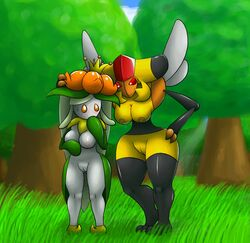 anthrofied bee blush breasts duo female flora_fauna forest insects lilligant nintendo nude ole outside plant pokemon pussy standing tree vespiquen video_games